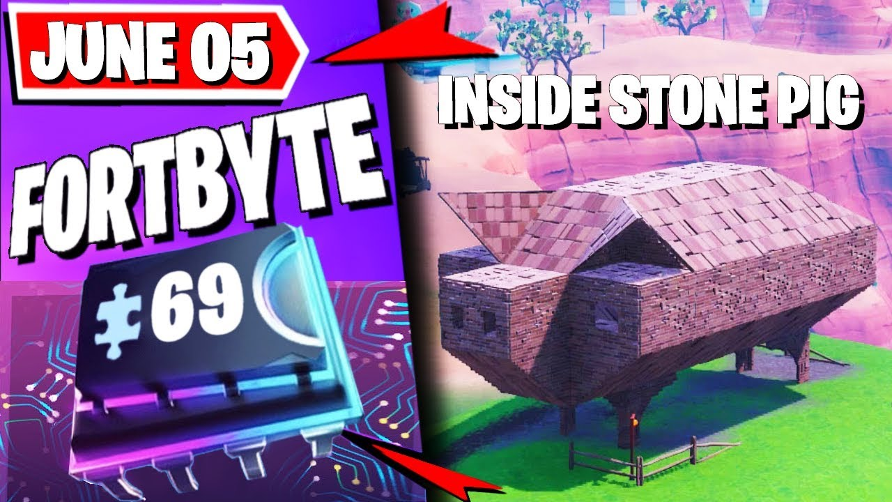 Where To Find Fortbyte 69 Found Inside A Stone Pig: Fortnite #FORTBYTE 69 (June 05)