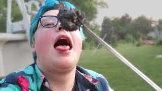 EATING A BURNT MARSHMALLOW