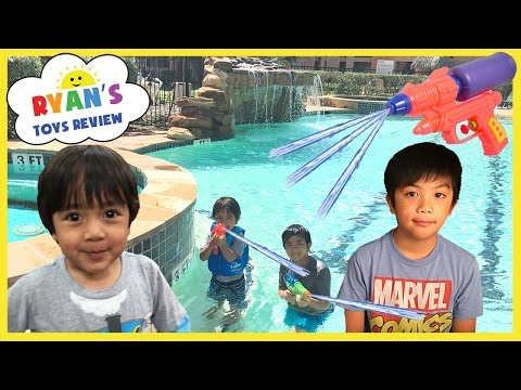 Thumbnail: Playtime in the Pool Family Fun Water Gun Fight Kids playing in the water Ryan ToysReview