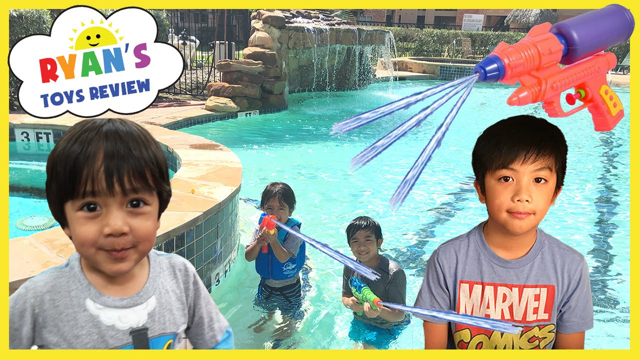 Playtime in the Pool Family Fun Water Gun Fight Kids playing in the water Ryan ToysReview