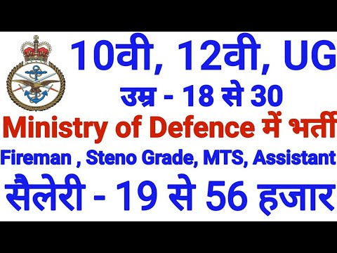 Ministry of Defence – Fireman, Material Asst & Other Posts 2018 Recruitment  Notice