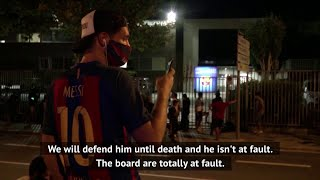 "Barcelona fans want everyone to know exactly how they feel about the ""messi"" situation that club is in as continue their protests."
