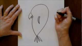 How To Draw A Cartoon Parrot Bird Easy Drawing Project For Beginners