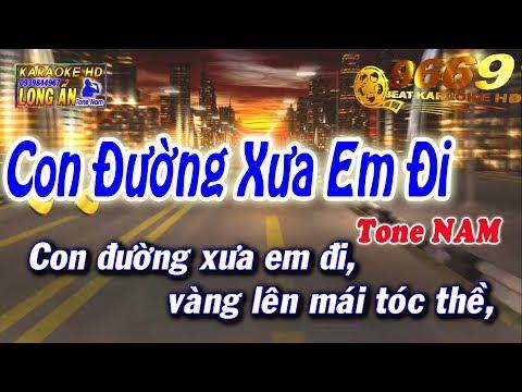 Karaoke Con Đường Xưa Em Đi | Tone Nam beat chuẩn | Nhạc sống LA STUDIO | Karaoke 9669