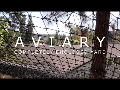 "Large Outdoor Backyard Aviary Constructed Using 1"" Heavy Knotted Netting"