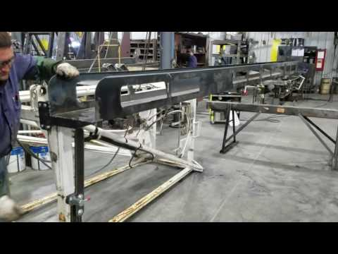 Hunke powered pipe rack actuator replaced with slider