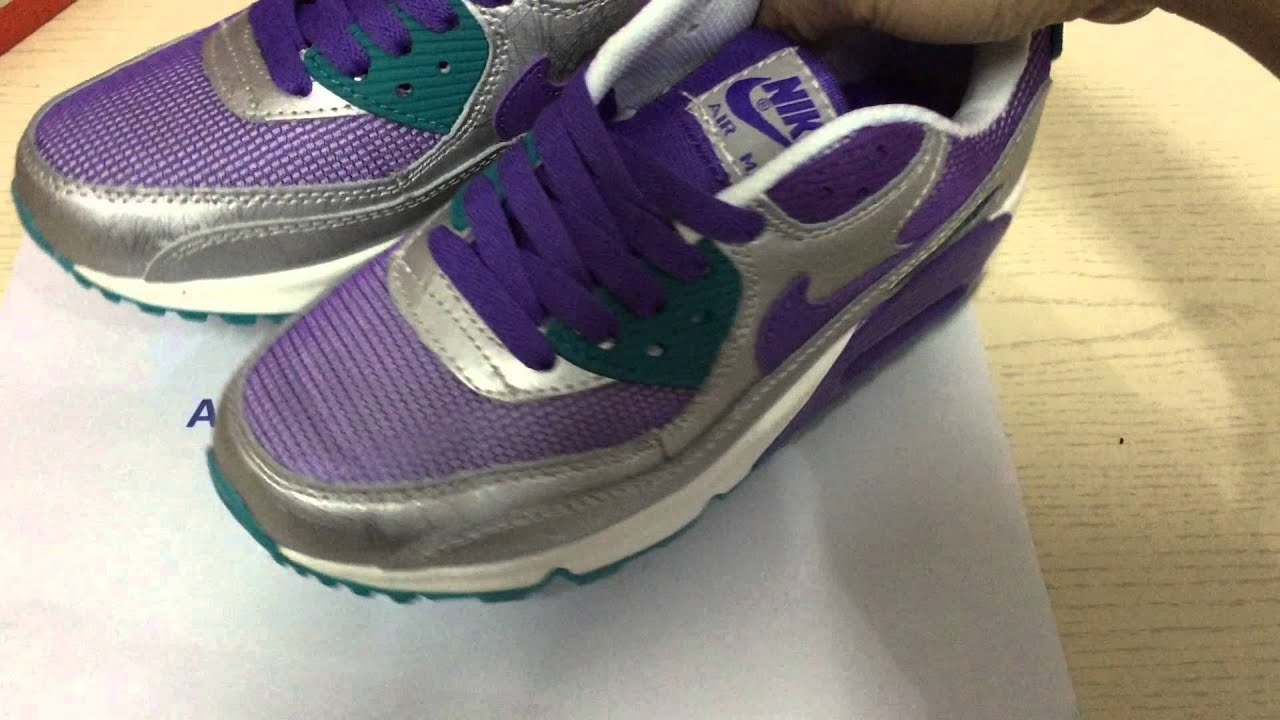 Women Nike Air Max 90 Purple Silver Lake Green Shoes