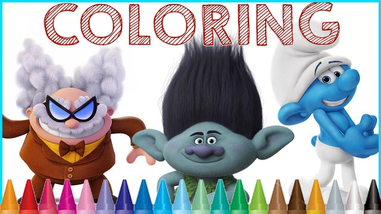coloring smurfs the lost village trolls movie captain