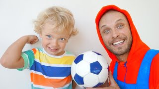Lev and Dad pretend play found a magical soccer ball.