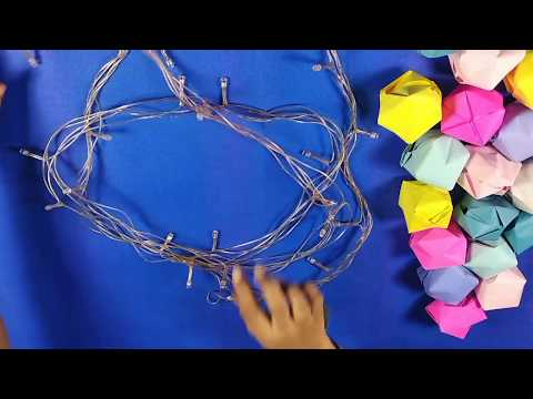 DIY:home decorations with easy to make string of light|howe to make paper decoration for diwali