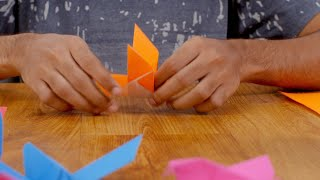 Creative Man / boy making bird origami with an orange craft paper