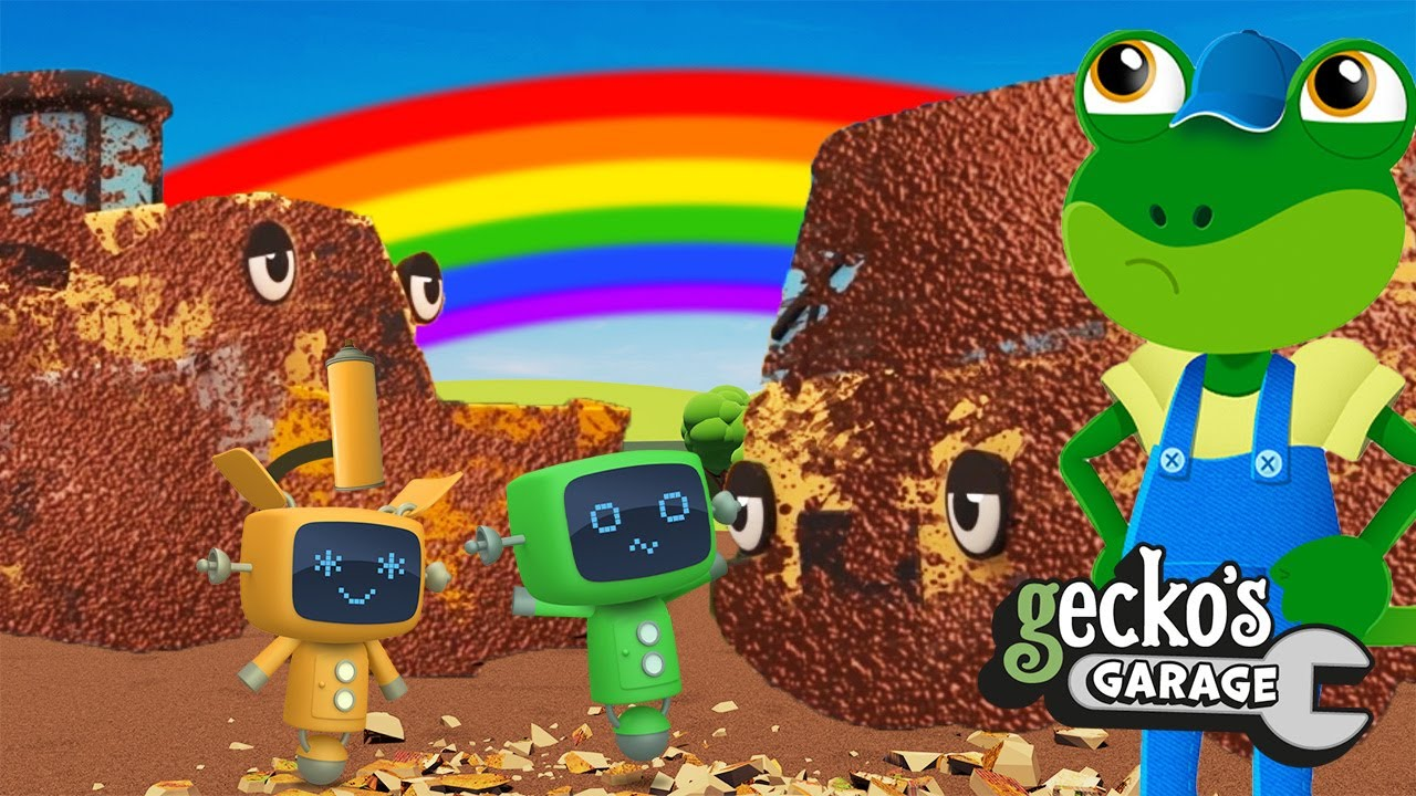 Ew! Time To Wash Muddy Construction Trucks Gecko's Garage Truck Cartoon Learning For Toddlers