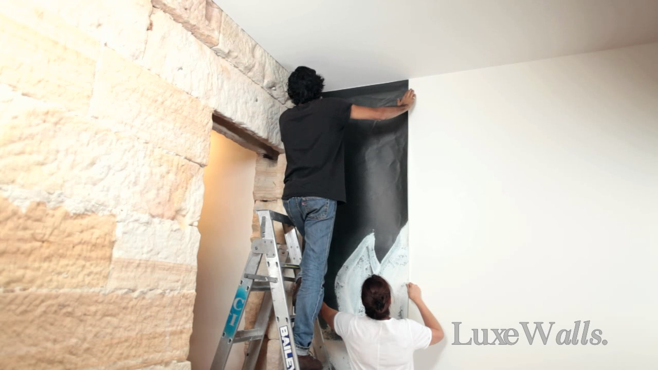 Luxe Walls Self Adhesive Wallpaper Installation Video - YouTube