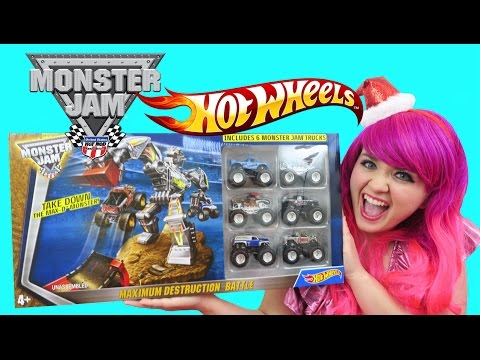 hot-wheels-monster-jam-trucks-maximum-destruction-battle-|-toy-review-|-kimmi-the-clown