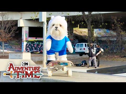 Download Youtube: Adventure Time | Doggo Skateboarding in Finn Costume | Cartoon Network