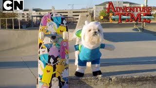 Adventure Time | Doggo Skateboarding in Finn Costume | Cartoon Network