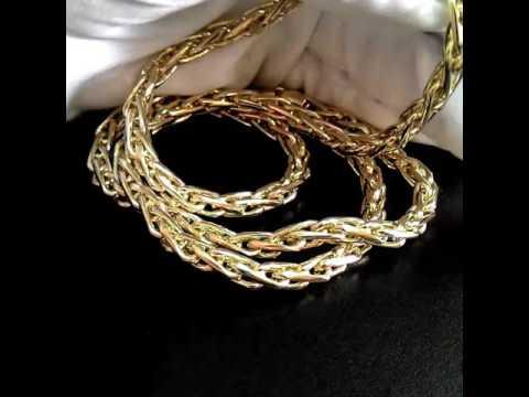 Золотая цепочка плетение Колос: вес 47,29гр., жёлтое золото 585 пробы, длина 64см., ширина 4мм.