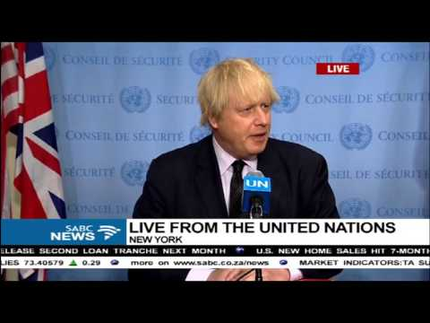 British Foreign Secretary, Boris Johnson addressing the UN and press