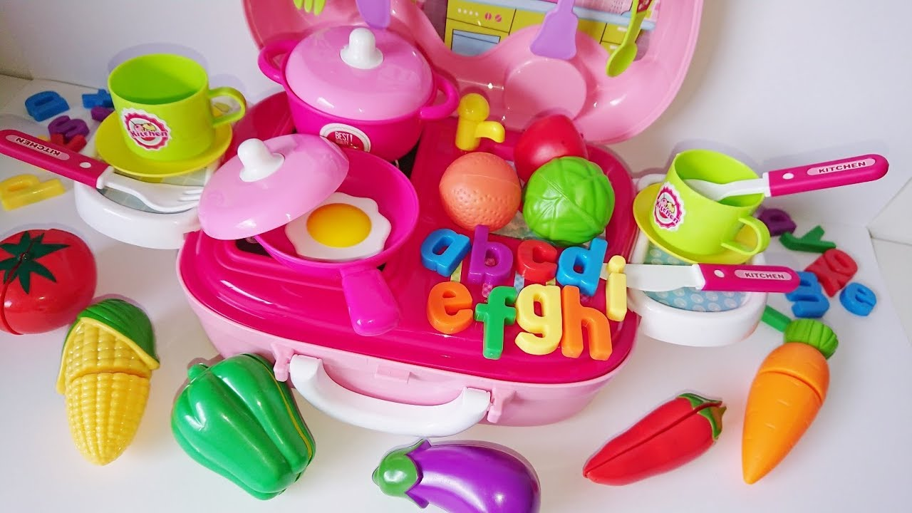 Learn Names Of Fruits Vegetables Colors With Toy Kitchen