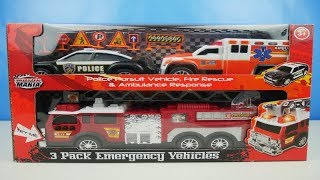 Emergency Toy Cars for kids | Police Persuit Vehicle | Ambulance | Firetruck Rescue Toys for Kids