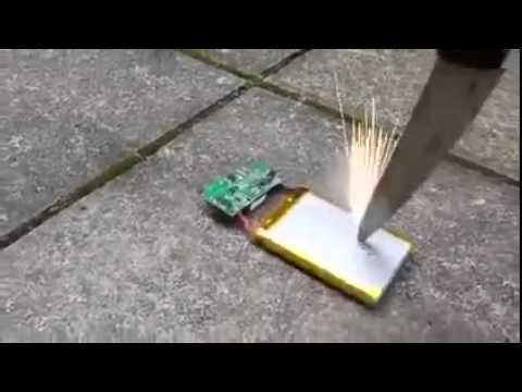 Thumbnail: Smashing a phone battery with a knife
