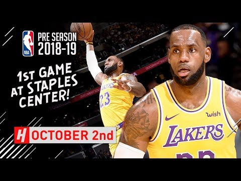 LeBron James SICK Full Highlights Lakers vs Nuggets 2018.10.02 - 13 Points in 1st Half!