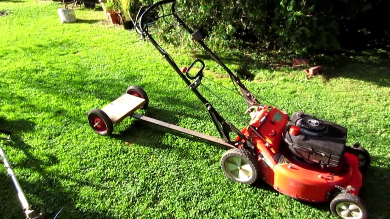 Homemade Tow Behind Sulky For Walk Behind Mower Youtube