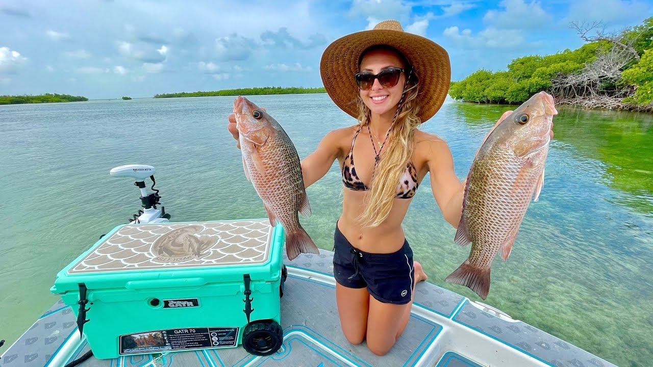Catching Snapper in Shallow Clear Water *Fish Fried Rice Recipe*