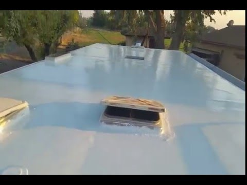 One Coat Application Of Liquid Roof On Very Aged RV