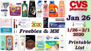 Many Hot \u0026 Free Deals | CVS 1/26/20 - 2/1/20 List Included| Excited