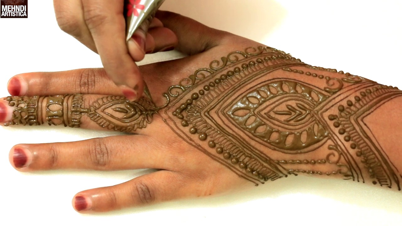 Traditional Haathphool Mehndi Designs For Shagun Easy Simple Indian