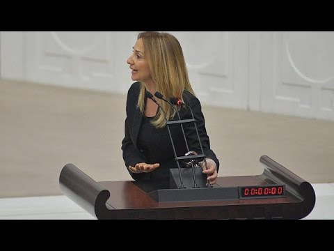 Mayhem in Turkish parliament after MP handcuffs herself to rostrum