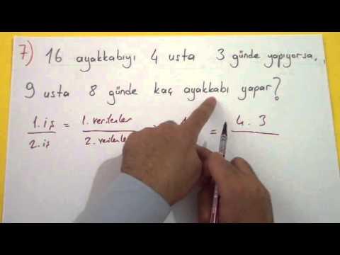 Oran Orantı Soru çözümü - şenol Hoca Şenol Hoca Matematik