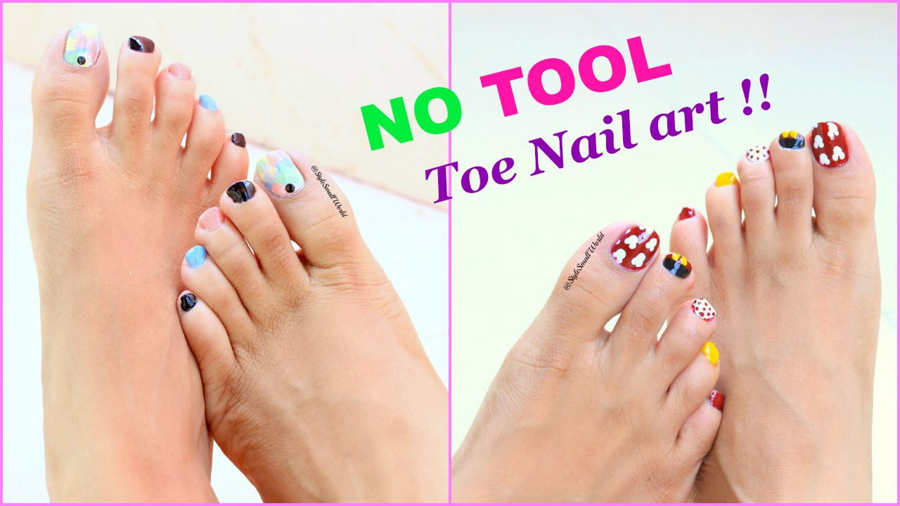 2 Easy And Quick Toe Nail Art Designs Tutorial Youtube