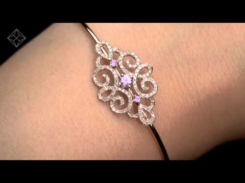 Vivara Collection Pink Sapphire and Diamond 9K Rose Gold Bangle L3338
