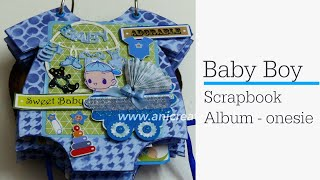 Baby Boy Scrapbook Photo Album - Onesie design