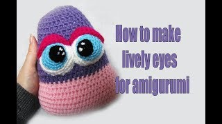 Amigurumi-pattern -  how to embroider specks on the eyes and how to attach the pupils