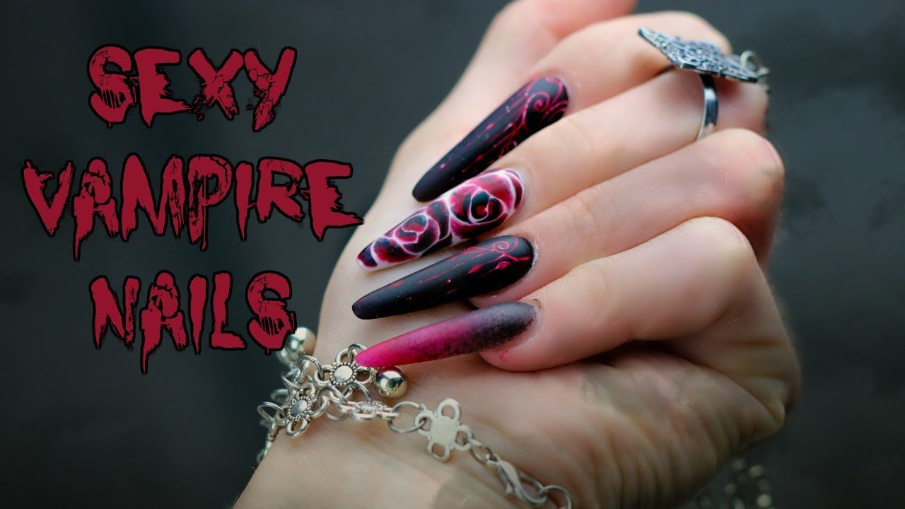 Red And Black Nails Vampire Inspired Youtube