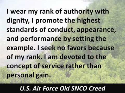 Old SNCO Creed - US Air Force - Senior Noncommissioned Officer