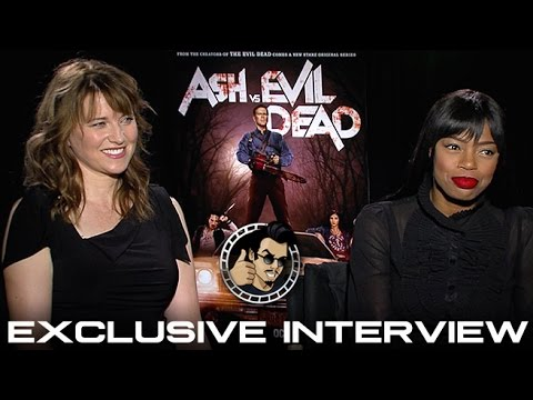 Lucy Lawless and  Jill Marie Jones Interview - Ash vs. Evil Dead (HD) 2015, Horror