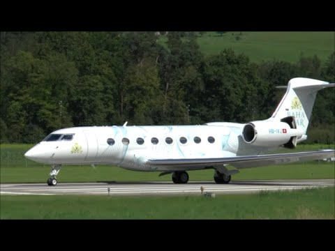 Baha Mar G-650 short & steep take-off from Berne Airport - 09/08/2014