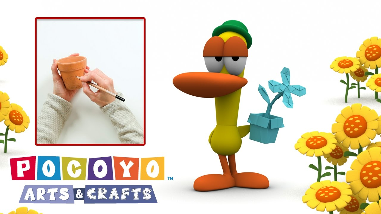 Pocoyo Arts Crafts Pots De Fleurs Colorés Printemps Dessin Animé