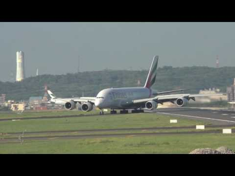 Giant Emirates A380 landing in Taipei Taoyuan airport