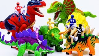 Power Rangers & Marvel Avengers Toys Pretend Play | Superhero Rides Dinosaur and Defeat Villain