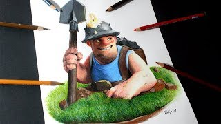 Como dibujo al  Minero de Clash Royale y clash of clans | How to draw Miner