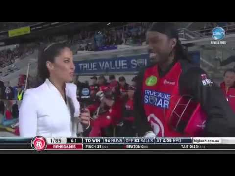 Chris Gayle Flirts With Reporter Mel McLaughlin During Live Interview in Big Bas 2