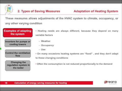 Calculation of energy saving measures in heating