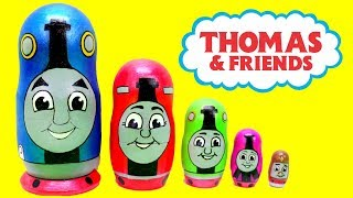 Elsa Opens Thomas Train Nesting dolls Toys