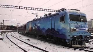 Transmontana pleaca cu IR 1657 Bucuresti Nord - Bicaz de la linia 13 in plin viscol, 19.12.2012