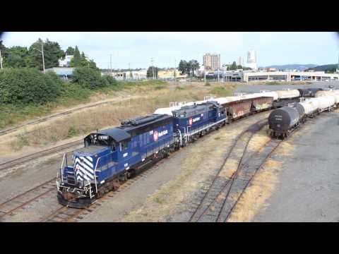 Trains on Tuesday 22nd. Aug. 2017. Switching the Nanaimo rail car ferry.